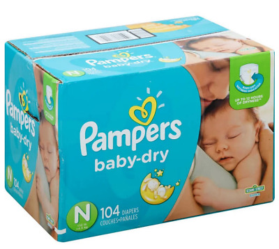 Free Ship - Pampers Baby Dry Diapers, Size Newborn (Less than 10 lb), 104 Count