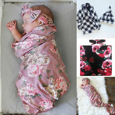 New Newborn Baby Boy Cocoon Swaddle Blanket Sleeping Swaddle Wrap Hat Set Best