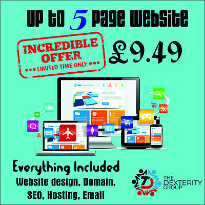 Up to 5 Page Professional Website Bespoke Web Design + Domain Name + Hosting