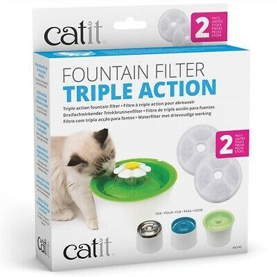 Catit Triple Action Fountain Filter - 2 pack for 3l fountain
