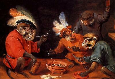 """high quality oil painting handpainted on canvas """"monkey tavern """""""
