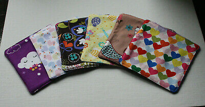 BABY WASH WIPES:REUSABLE,WASHABLE,ECO FRIENDLY.Assorted.Cotton/Fleece.Pack of 6.
