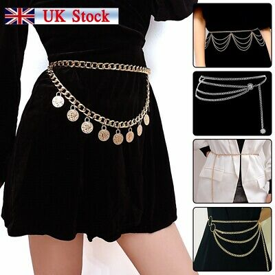 Women Metal Chain Retro Belt High Waist Hip Coin Charms Waistband Body Chain