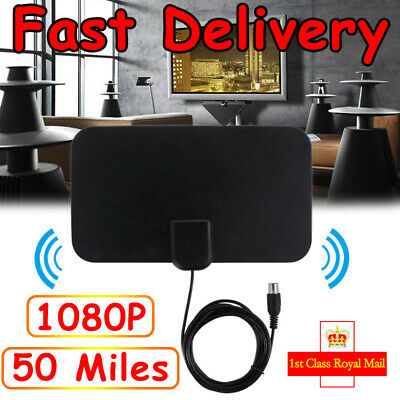 Thin Freeview Indoor Digital TV Aerial HDTV Antenna 50 Mile Range WQY