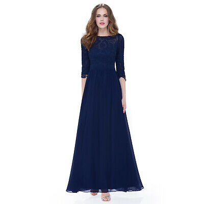 Ever Pretty Women's 3/4 Sleeve Lace Long Formal Evening Backless Dress 08412