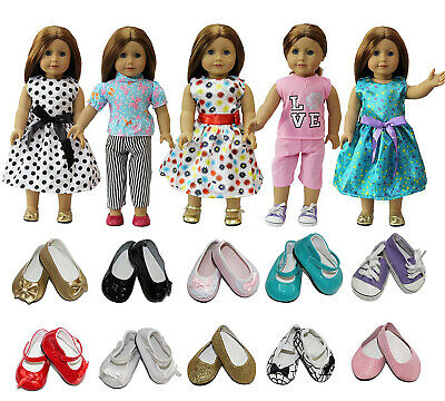 Lot 5 Sets Dress Clothes Shirt & Pants For 18 inch Girl Doll + 2 Pairs Shoes US