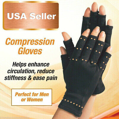 Copper Compression Hands Arthritis Gloves Therapeutic Brace S ~ XXL US Shipping