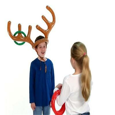 Christmas Inflatable Reindeer Hat Ring Toss Xmas Holiday Party Toys Moose BM