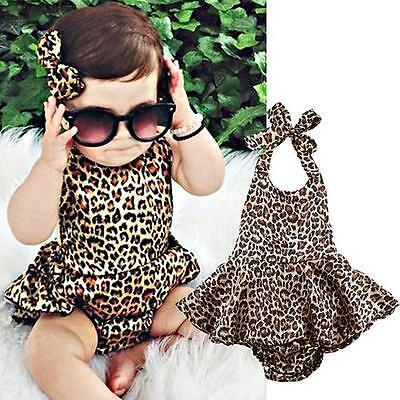 Unique Newborn Baby Girl Kids Leopard Jumpsuit Party Dress Romper Clothes BM