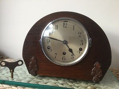 German 8 Day Oak Cased Whittington Chime Mantel Clock Full Service With Key