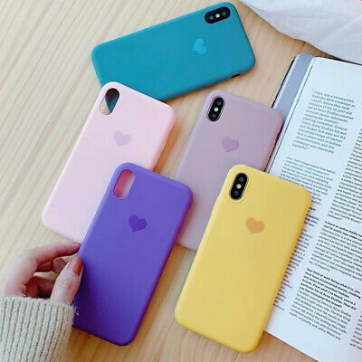 Case For iPhone 8 7 6s Plus 6 XR XS Slim Heart Pattern TPU Silicone Phone Cover