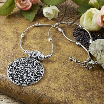 Vintage Style Bohemian Silver Plated Tibetan Flower Necklace Sweater Chain Z