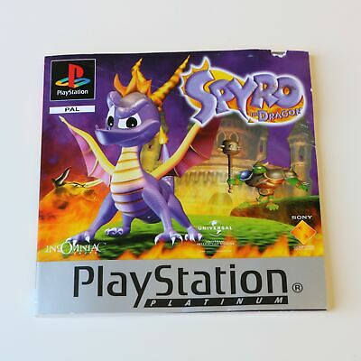 Instruction Manual For - Platinum - Ps1 Psone Spyro The Dragon Game - Gc