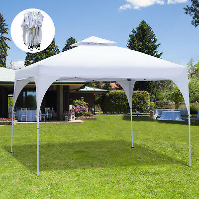 Outsunny 10' Outdoor 2-Tier Metal Frame Pop Up Canopy Backyard Tent Awning White