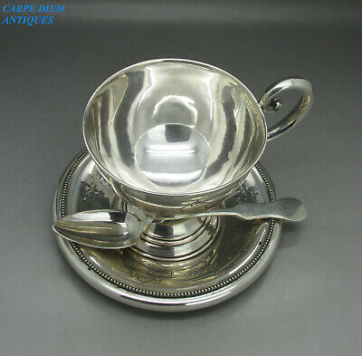 ANTIQUE GOOD AUSTRO-HUNGARIAN SOLD SILVER CUP, SAUCER & SPOON 238g PRAUGE c1895
