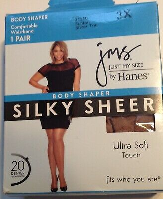 42fc2eb5667 Just My Size Suntan Pantyhose 3X Body Shaper Silky Sheer Toe 1 Pair JMS  Hanes