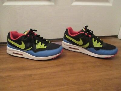 Used Worn Size 10.5 Nike Air Max Light Shoes Black, Cactus, Dark Crystal Blue