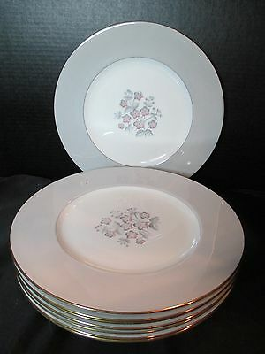 "Wedgwood Grey Friar Pink Bone China 8 Dinner Plates 1937-1964 10 5/8"" Across"