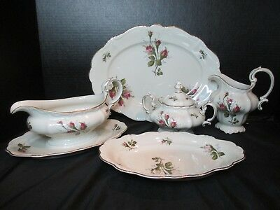 Rosenthal Pompadour Moss Rose Ivory Body 5 Piece Serving Pieces