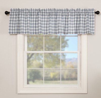 SAWYER MILL BLUE PLAID Valance Window Curtain White Farmhouse VHC Brands 16x72