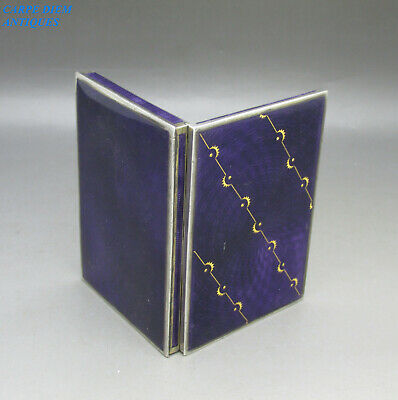 VINTAGE GOOD SOLID STERLING SILVER & GUILLOCHE ENAMELED BOX, 116g LONDON 1922