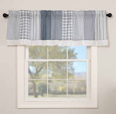 SAWYER MILL BLUE PATCHWORK Valance Window Curtain White Farmhouse VHC 19x60