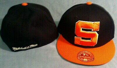 more photos 29109 46b04 Syracuse University Flat Brim Fitted S Logo Size 7 1 8 NCAA Cap Mitchell