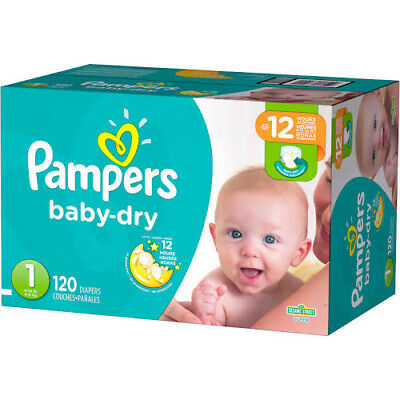 Pampers Baby Dry Diapers, Size 1  - 120 pack (8 - 14 lbs)