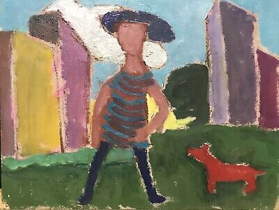 Akos Biro (Hungarian 1911-2002) French Expressionist Figure With Red Dog - Oil