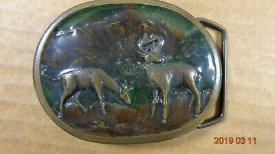 DEERS Vintage Belt Buckle by Indiana Metal Craft Enameled Brass