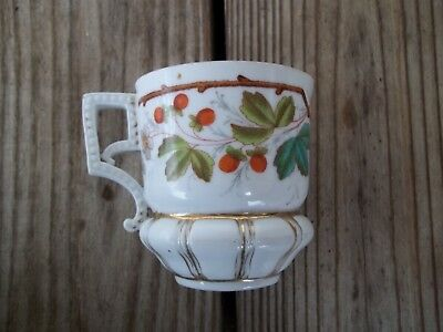 Vintage White Turquoise Orange Fall Leaves Cup Mug Gold Trim Ribbed Base