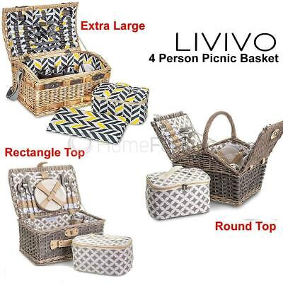 Luxury 4 Person Traditional Picnic Hamper Wicker Willow Basket Blanket Cool Bag