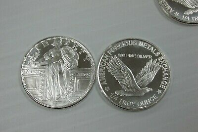 Lot of 2 - Silver Round Standing Liberty with Eagle - 1/4 troy oz .999 fine Q1LU