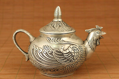 Antique Rare Old Copper plated silver Hand Carved phoenix Statue Tea Pot deco