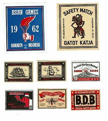 8 Old Indonesia c1900s 2 packet & 6 matchbox labels Asian Games, Mandala  etc