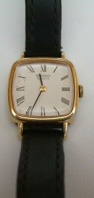 b21bff0af SEIKO WATCH BLACK Leather Strap Gold Tone Square Face Good Condition ...