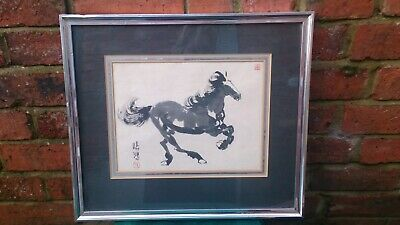 Vintage Early Chinese Signed Ink Watercolour Art Horse Painting