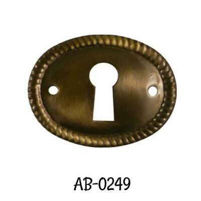 Antiqued Keyhole Cover Stamped Brass Oval Horizontal Keyhole Cover with Rope Edg