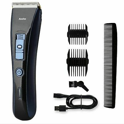 Hair Clipper Cordless Rechargeable Trimmer Beard Shaver Ceramic Blade 2 Combs
