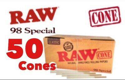 RAW Classic 98 special Size Pre-Rolled Cones (50 Pack) 100%AUTHENTIC