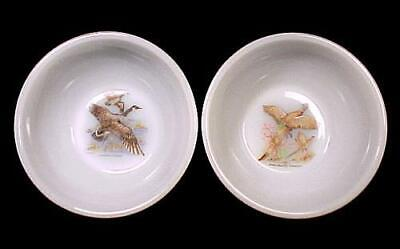 2 Anchor Hocking Fire King Wild Game Bird Cereal Bowl Flying Geese Pheasants