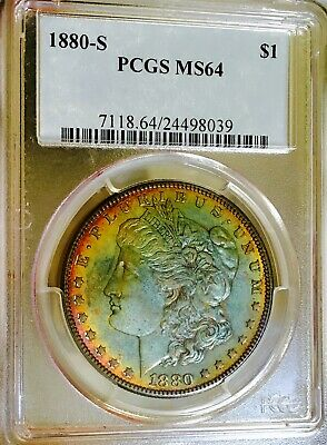 1880 S Morgan Pcgs Ms64! Green Monster! Amazing Color! One Of A Kind!nr$$$$#3020