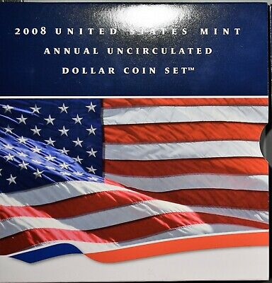 2008 UNITED STATES MINT ANNUAL UNCIRCULATED DOLLAR COIN SET w/SILVER EAGLE A8547