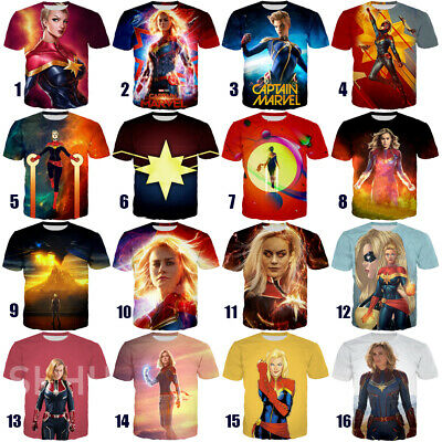 New Film Captain Marvel Printed Tee Women Men Casual 3D T-Shirt Short Sleeve Top