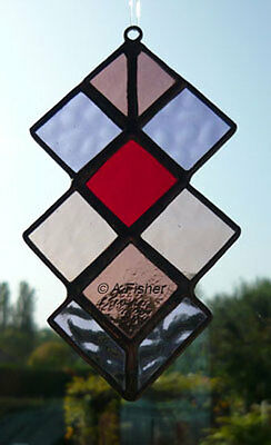 Stained Glass Harlequin Squares - Handmade - Purples & Red - Suncatcher  NEW