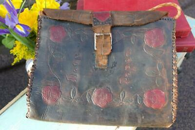 Antique Art Nouveau Leather Book Bag Or Hand Bag c.1900 Rose Design Unique Chic
