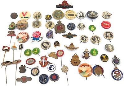 Good Resale Potential Here !!! Job Lot Vintage Badges, Pins, Tin Buttons.