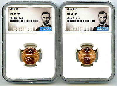 2016 P & D Cent Ngc Ms66 Union Shield 2 Coin Lincoln Label Set - You Get Both