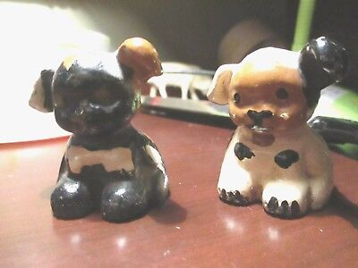 Antique Solid Lead Or Bronze ? dog  Figures lot of 2