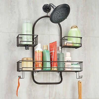 9cf76ba1789 Hanging Extra Wide Metal Wire Tub Shower Caddy with Storage Organizer Center